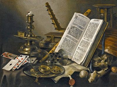 Vanitas Still Life With A Book A Glass Roemer A Skull A Lute A Pack Of Cards And Piece Of Parchment  Poster by Pieter Claesz