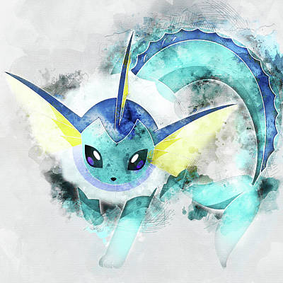 Pokemon Vaporeon Abstract Portrait - By Diana Van Poster by Diana Van