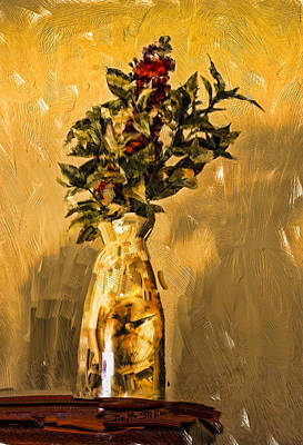 Poster featuring the digital art Vase And Flowers by Dale Stillman