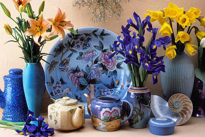 Vase And Plate Still Life Poster by Garry Gay