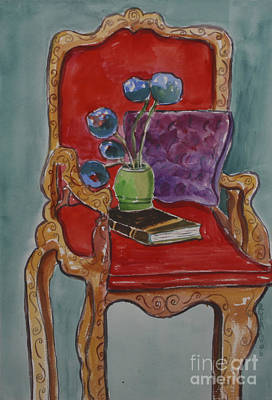 Vase Book And Chair Poster by Linda Rupard