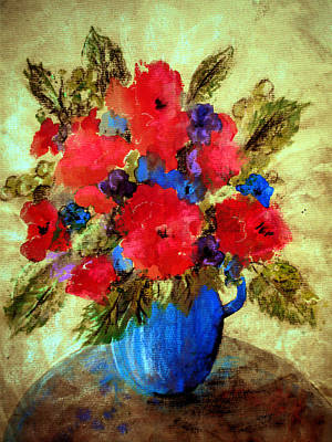 Poster featuring the painting Vase Of Delight-still Life Painting By V.kelly by Valerie Anne Kelly