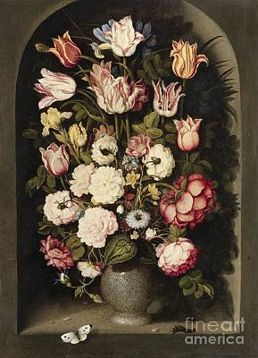 Vase Of Flowers In A Stone Niche Poster