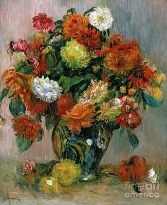 Vase Of Flowers Poster by Pierre Auguste Renoir