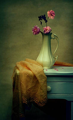 Vase Of Pink Roses Poster