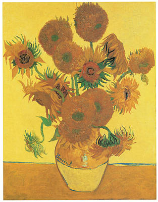 Vase With Fifteen Sunflowers Poster