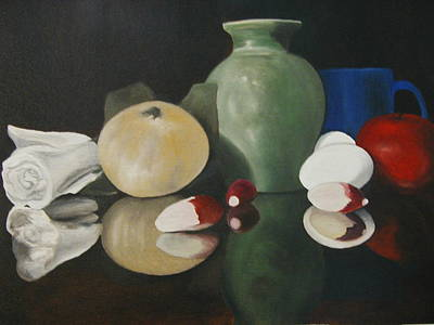 Vase With Radishes Poster by Angelo Thomas