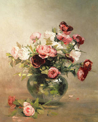 Vase With Roses Poster