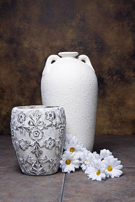 Vases With Daisies I Poster by Tom Mc Nemar