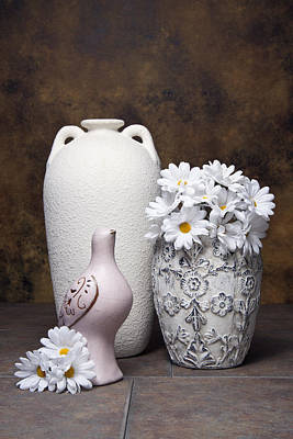 Vases With Daisies II Poster by Tom Mc Nemar