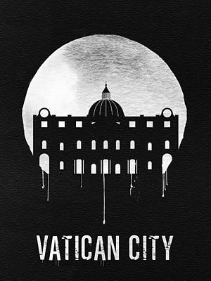 Vatican City Landmark Black Poster by Naxart Studio