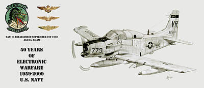 Vaw-13 Zappers 50 Year Tribute With Wings Poster by Nicholas Linehan
