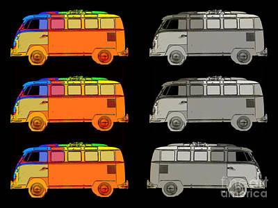 Vdub Surfer Bus Series Poster by Edward Fielding