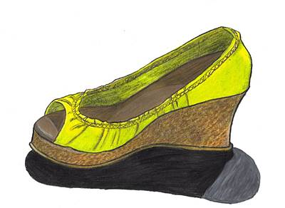Poster featuring the drawing Vegas Shoes by Jean Haynes