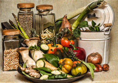 Vegetable And Canisters Still Life Stl697793 Poster by Dean Wittle