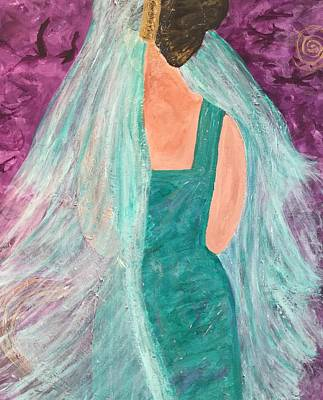 Poster featuring the painting Veiled In Teal by Annette McElhiney