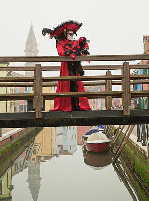 Venetian Lady On Bridge In Burano Poster
