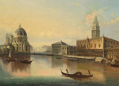 Venetian Scene With View Of Santa Maria Della Salute Poster