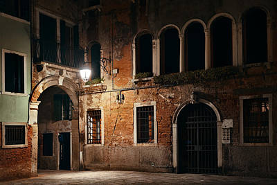 Poster featuring the photograph Venice Alley At Night by Songquan Deng