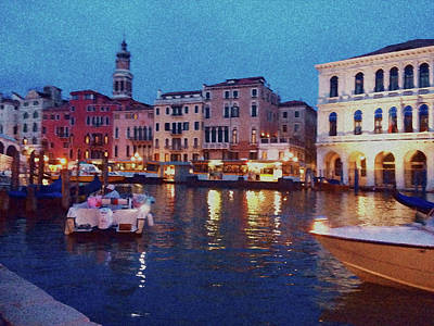 Poster featuring the photograph Venice By Night by Anne Kotan