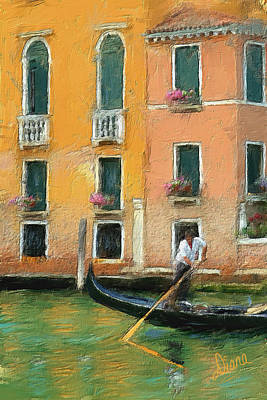 Venice Canal Boat Poster by Diana Ralph