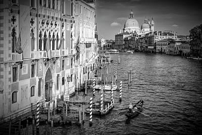 Venice Canal Grande And Santa Maria Della Salute - Monochrome Poster
