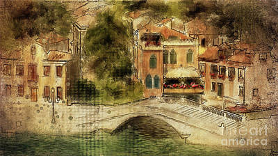 Poster featuring the digital art Venice City Of Bridges by Lois Bryan