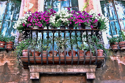 Poster featuring the photograph Venice Flower Balcony by Allen Beatty