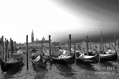 Venice Gondolas Black And White Poster