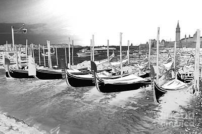 Venice Gondolas Silver Poster by Rebecca Margraf