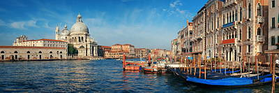 Poster featuring the photograph Venice Grand Canal Boat by Songquan Deng
