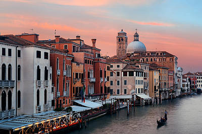 Poster featuring the photograph Venice Grand Canal Gondola by Songquan Deng