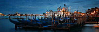 Poster featuring the photograph Venice Grand Canal Viewed At Night by Songquan Deng