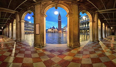 Poster featuring the photograph Venice Hallway by Songquan Deng