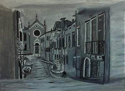 Venice In Grey And White Poster by Rod Jellison