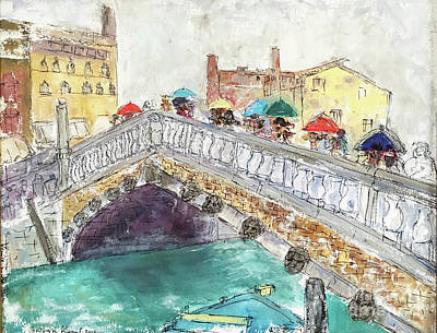 Venice In The Rain Poster by Barbara Anna Knauf