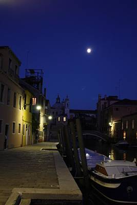 Poster featuring the photograph Venice Moon by Pat Purdy