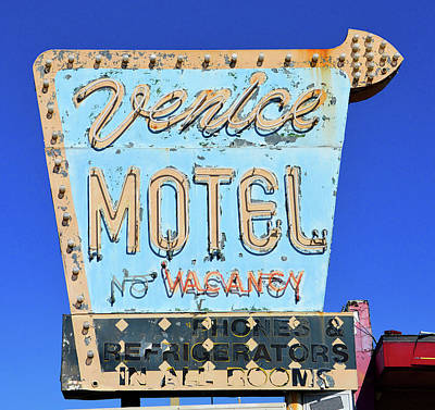 Poster featuring the photograph Venice Motel Sign Circa 1950s by David Lee Thompson