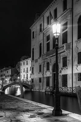 Venice Rio Di San Vio And Palazzo Cini - Monochrome Poster