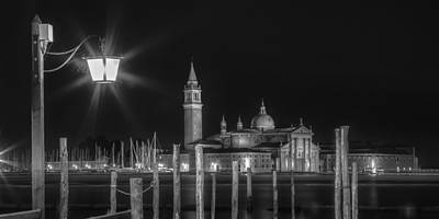 Venice San Giorgio Maggiore At Night Black And White Panoramic View Poster by Melanie Viola