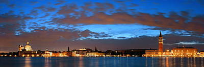 Poster featuring the photograph Venice Skyline Night Panorama View by Songquan Deng