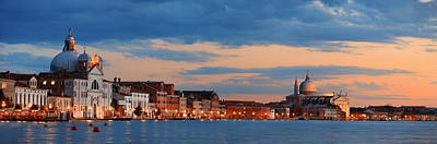 Poster featuring the photograph Venice Skyline Panorama At Night by Songquan Deng