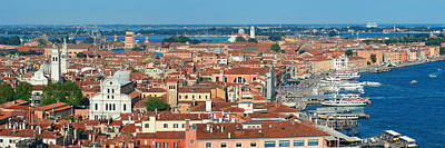 Poster featuring the photograph Venice Skyline Panorama Viewed From Above  by Songquan Deng