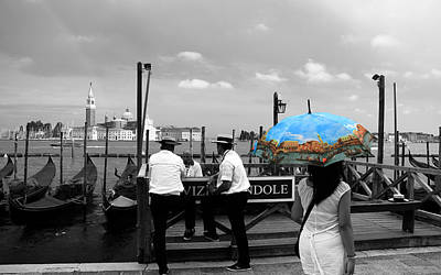 Poster featuring the photograph Venice Umbrella by Andrew Fare