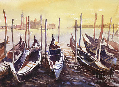 Poster featuring the painting Venice Watercolor- Italy by Ryan Fox