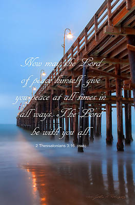 Ventura Ca Pier With Bible Verse Poster by John A Rodriguez