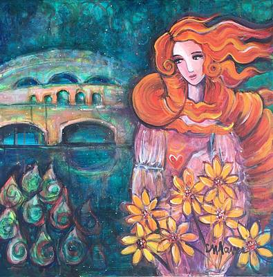 Poster featuring the painting Venus And Sunflowers by Laurie Maves ART