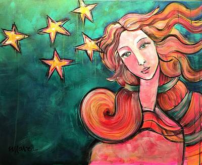 Poster featuring the painting Venus Of The Stars by Laurie Maves ART