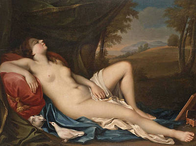 Venus Sleeping In A Landscape With Two Doves In The Foreground Poster
