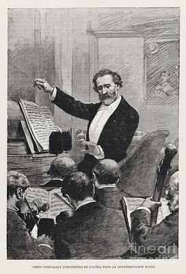 Verdi Conducting Aida In Paris Poster by Celestial Images
